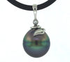 Black Tahitian Pearl & Diamond 14K White Gold Pendant Necklace