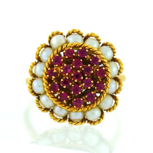 18K Yellow Gold Ruby & Pearl Halo Ring - Sz. 7¼