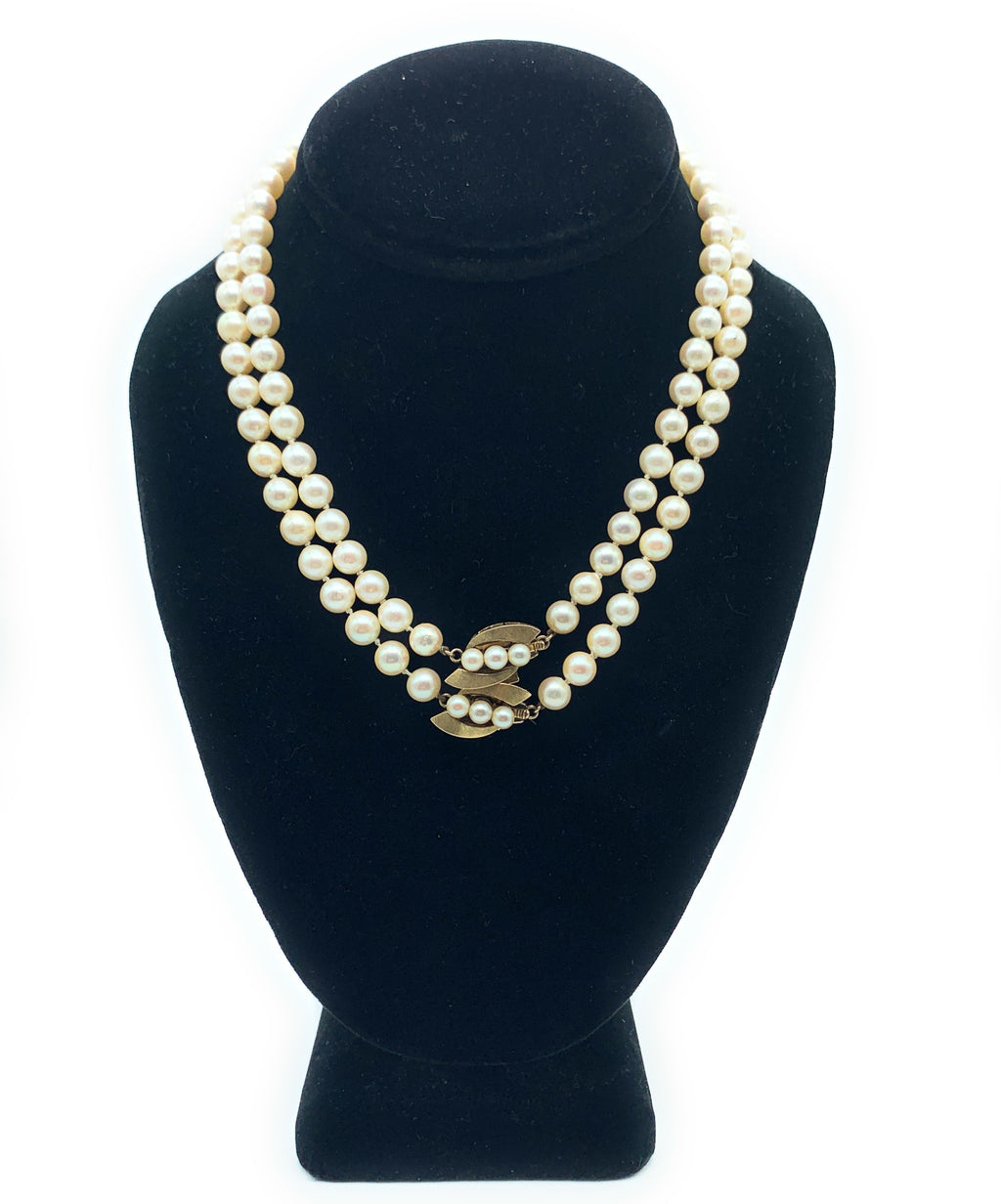 Vintage 14K Yellow Gold & Cultured Pearl Dual Strand Choker Necklace