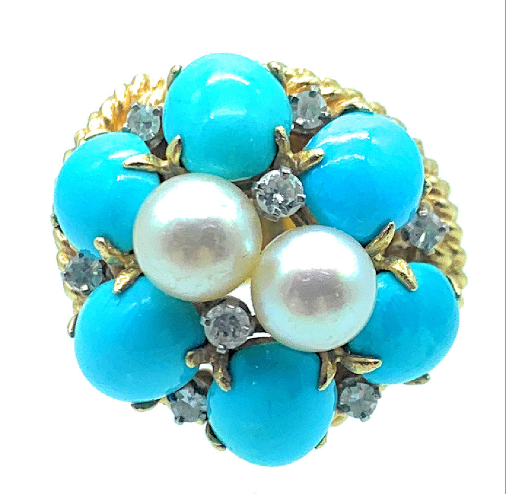 14K Yellow Gold 0.24ctw Diamond, Cultured Pearl & Persian Turquoise Ring - Sz. 6.5
