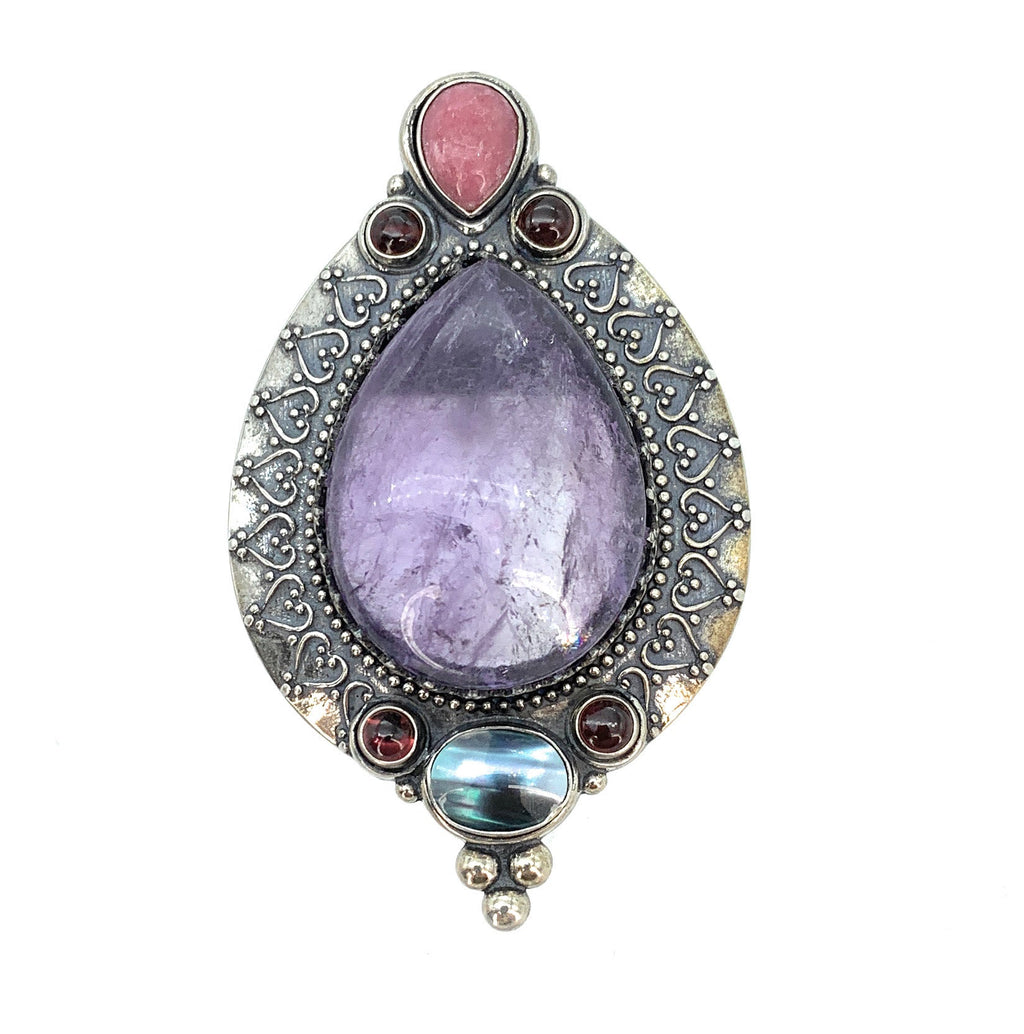Vintage Amethyst, Ruby, Agate, & Abalone Sterling Silver Pendant