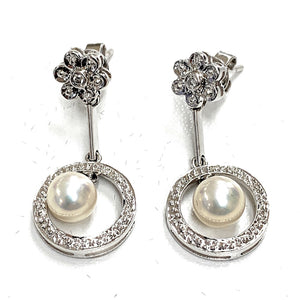 Vintage 14K White Gold 0.05ctw Diamond & Pearl Drop Earrings