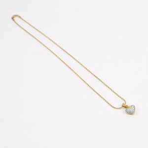 18K Yellow  Gold Chimento and Diamond Heart Necklace
