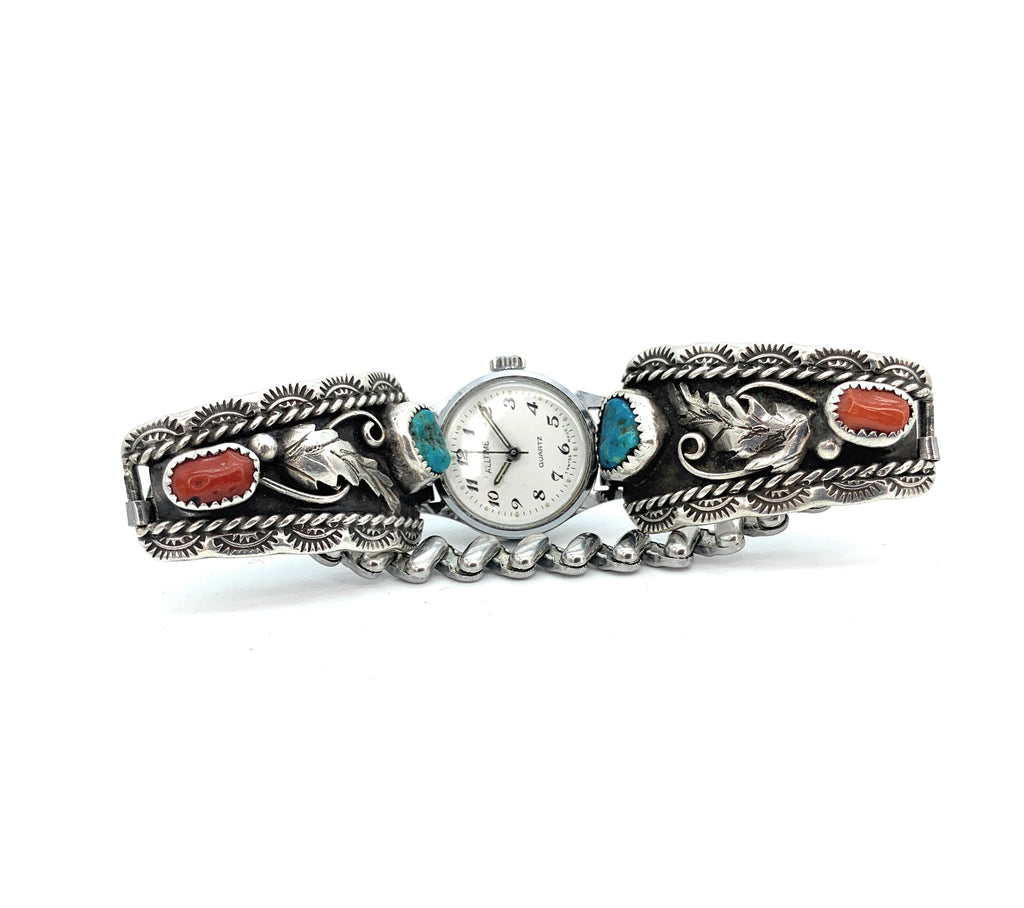 Vintage 1960's Navajo Sterling Silver Turquoise & Coral Watch Tips