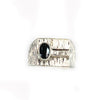 Stunning Men's 0.55ctw Oval Sapphire & Diamond Ring in 18kt White Gold - Sz. 8.50