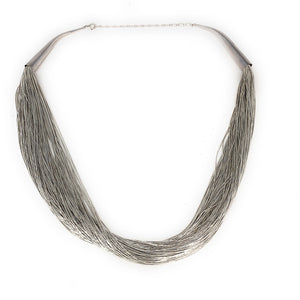 Sterling Silver 100 Strand Liquid Silver Necklace