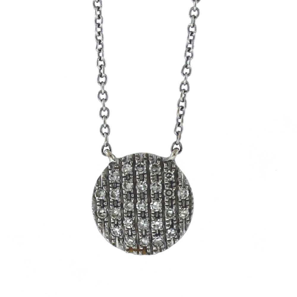 14K White Gold & 0.30ctw Pave Diamond Disc Pendant and Necklace