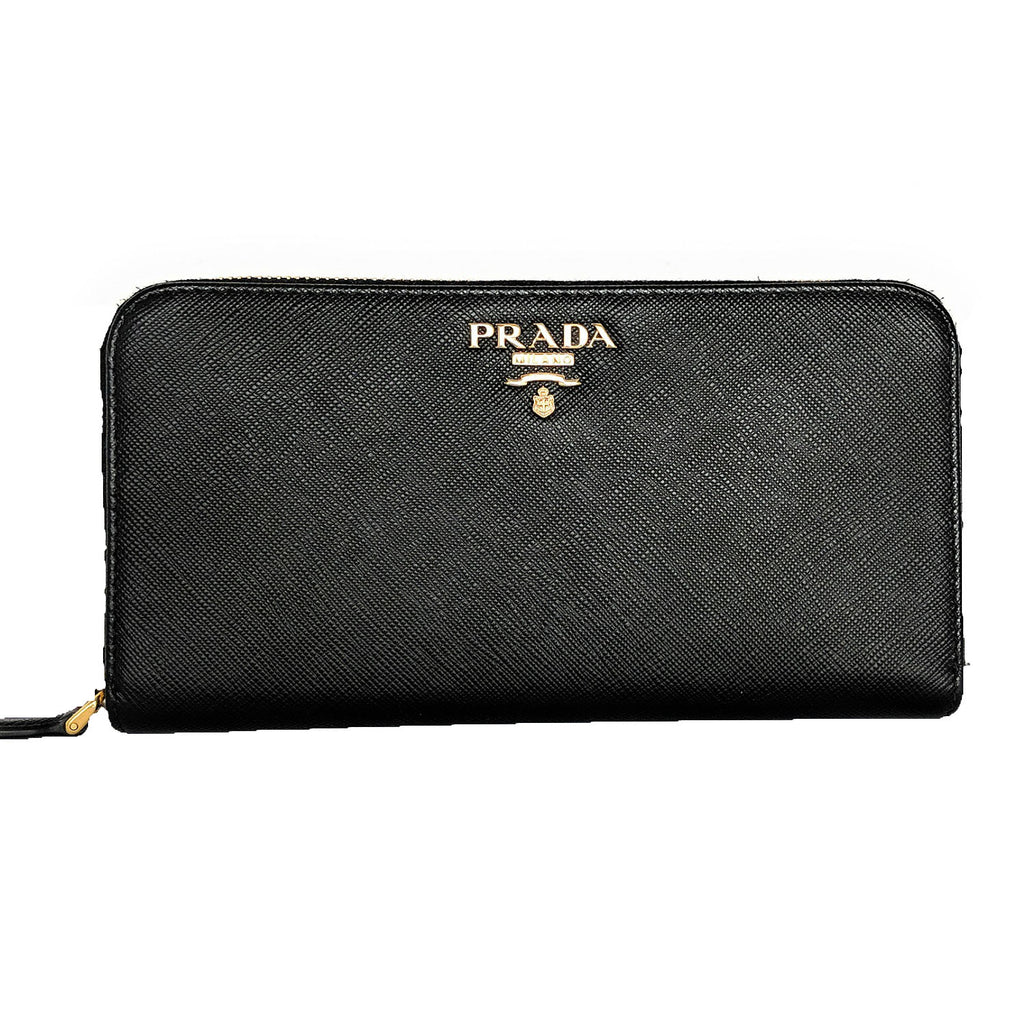 Prada Black Saffiano Zip-Around Continental Wallet