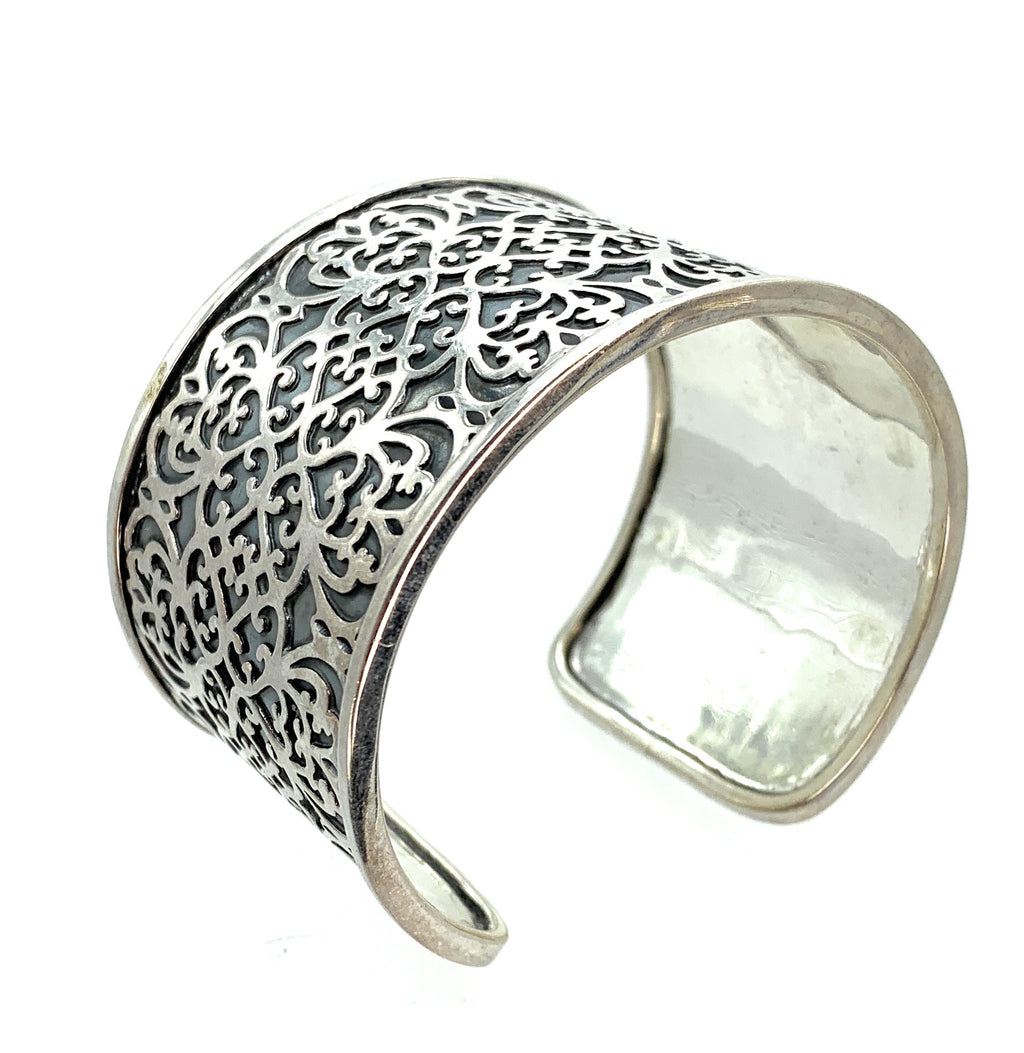 Sterling Silver Overlay Engraved Wide Cuff Bracelet