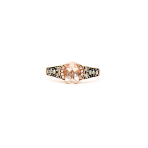 Levian 14K Rose Gold Ladies Ring appx 0.90ct Morganite Oval Stone with 0.36ctw Diamonds