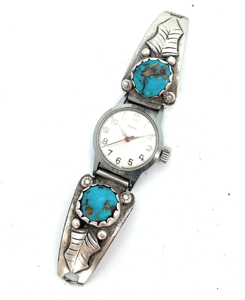 Vintage 1960's Navajo Sterling Silver Royston Turquoise Watch Tips & Watch