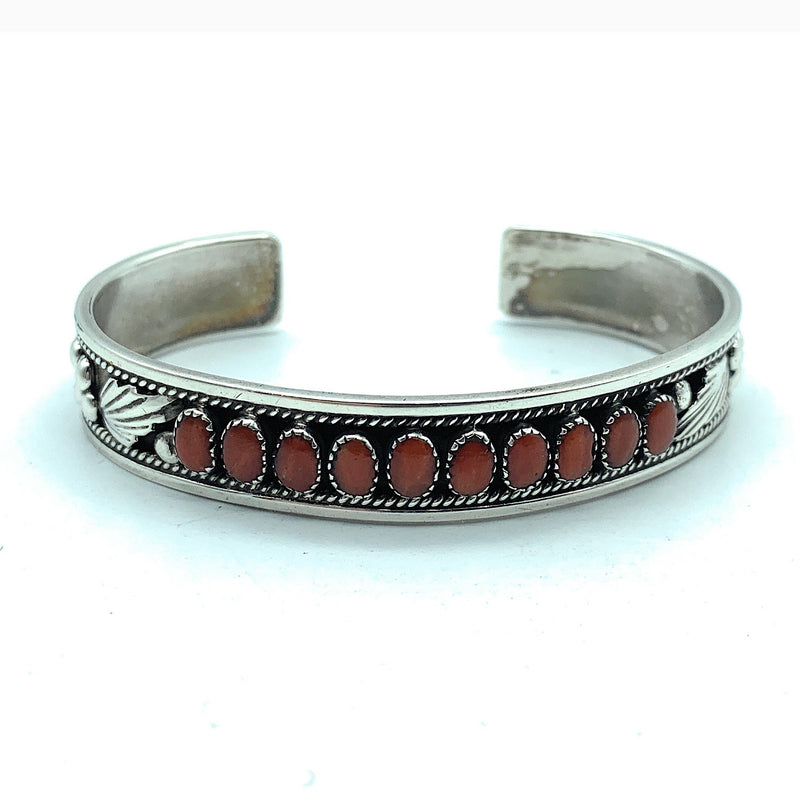 Vintage Zuni Sterling Silver & Red Coral Petit Point Cuff Bracelet - Signed