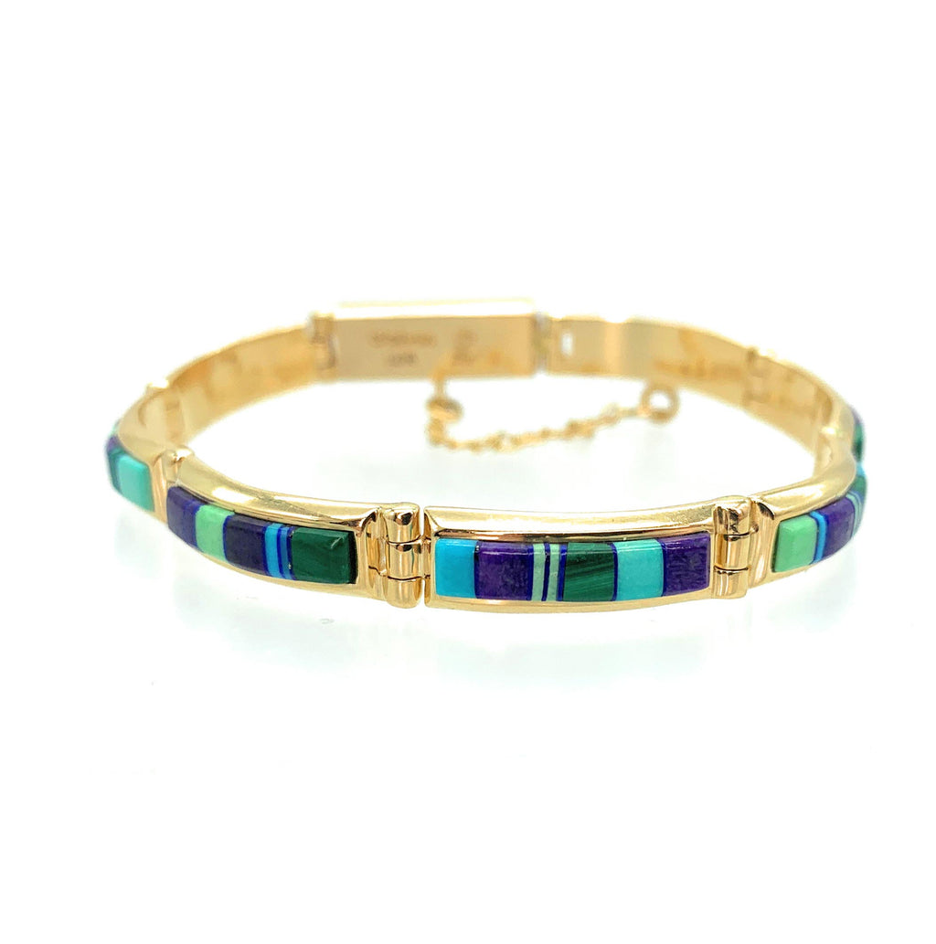 Vintage Calvin Begay 14K Yellow Gold Multi-Stone Inlay Link Bracelet