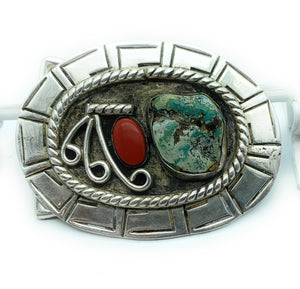 1970's Vintage Native American Sterling Silver Turquoise & Coral Belt Buckle