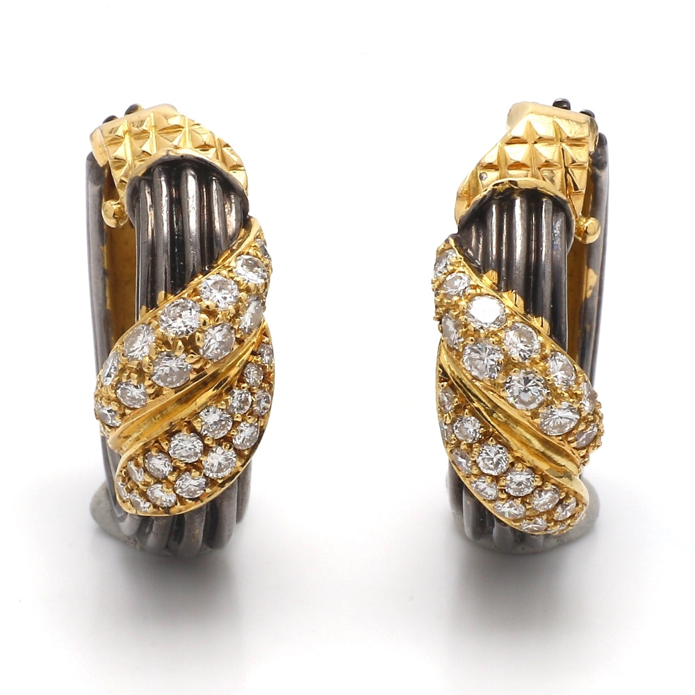 18K Yellow Gold 1.00ctw Diamond Black Rhodium Plated Clip-On Earrings
