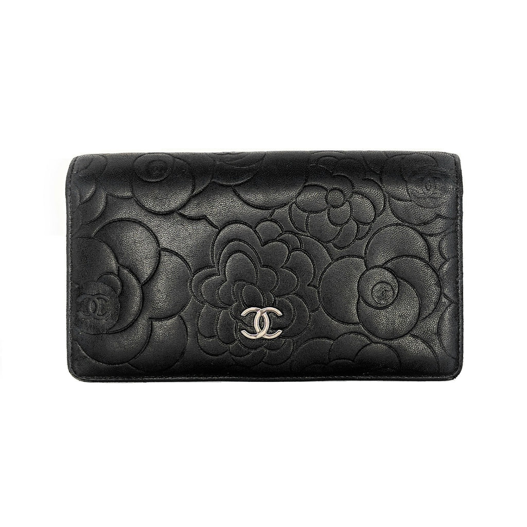 Chanel Black Camellia Embossed Classic Yen Wallet