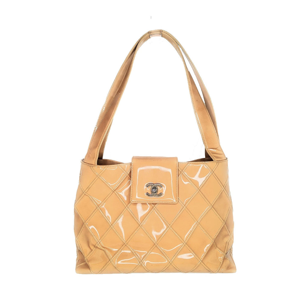 Chanel Caramel Patent Leather Quilted Tote