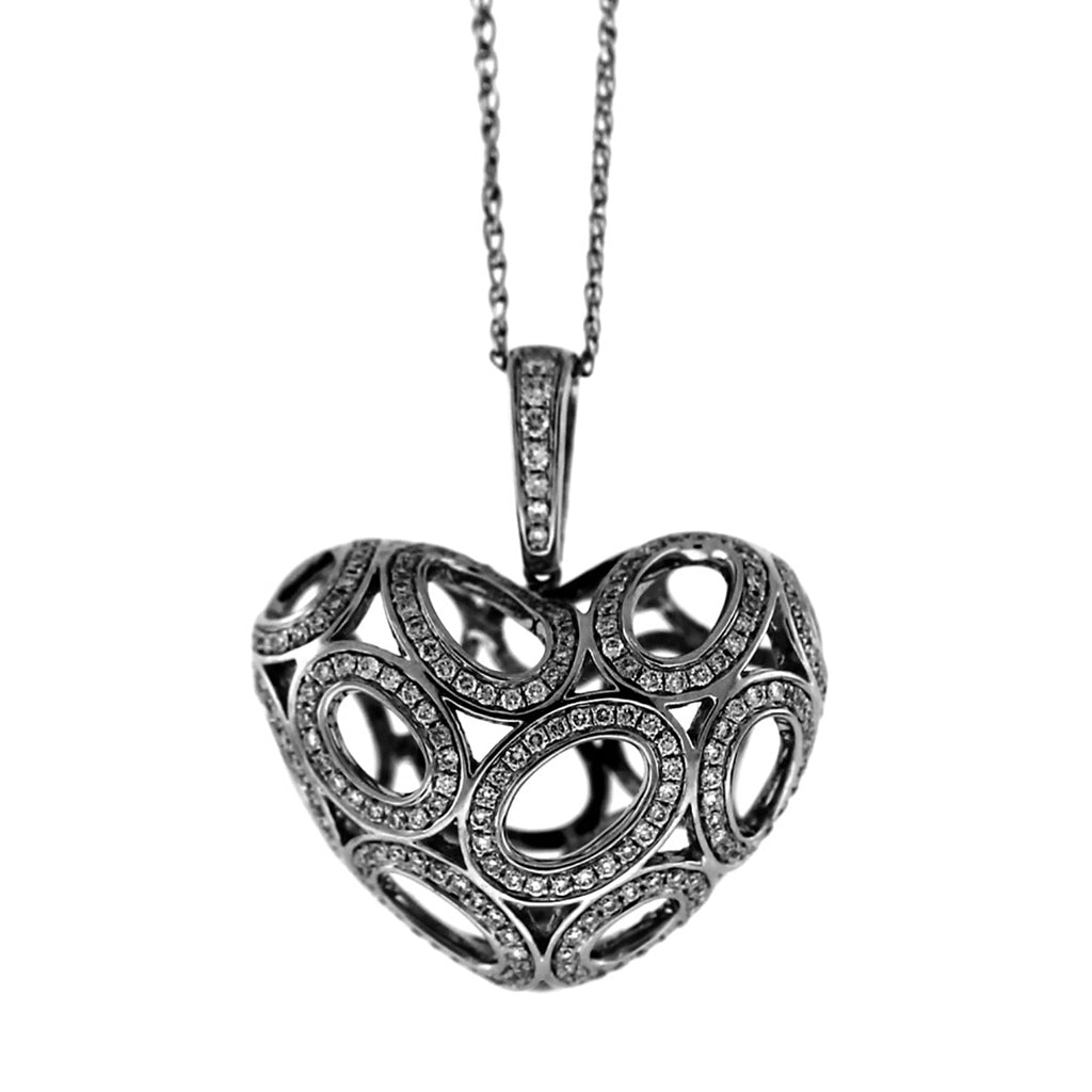 18K White Gold 0.72ctw Diamond Open Heart Pendant Necklace