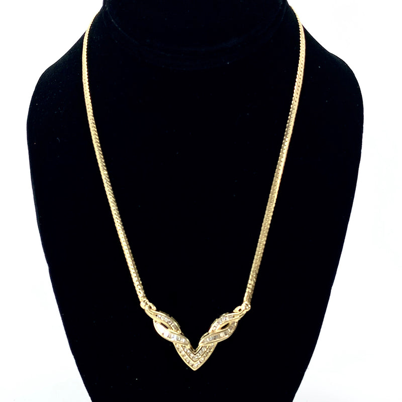 Beautiful 14K Yellow Gold Channel Set Diamond Necklace