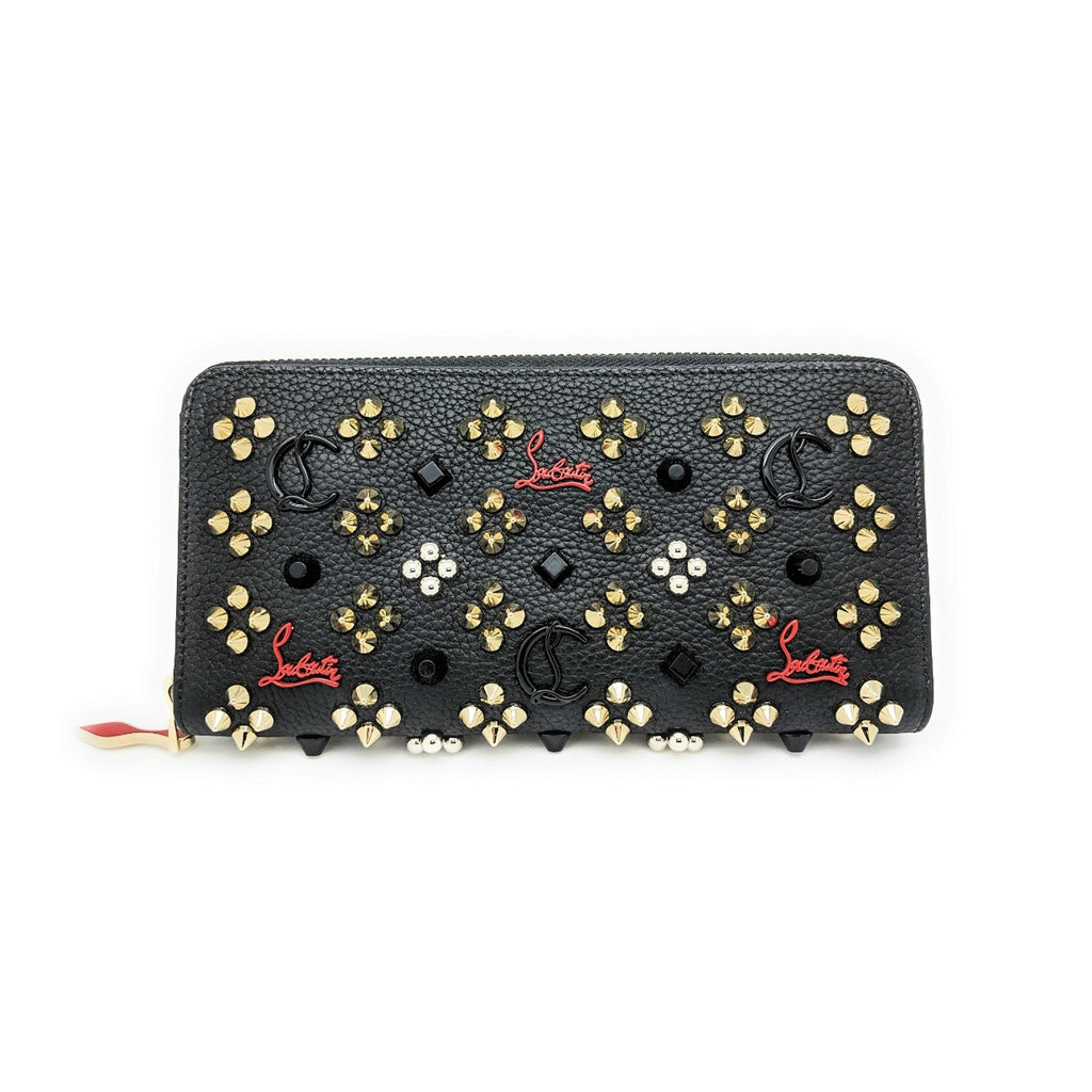 Christian Louboutin Black Calf Panettone Studded Continental Wallet