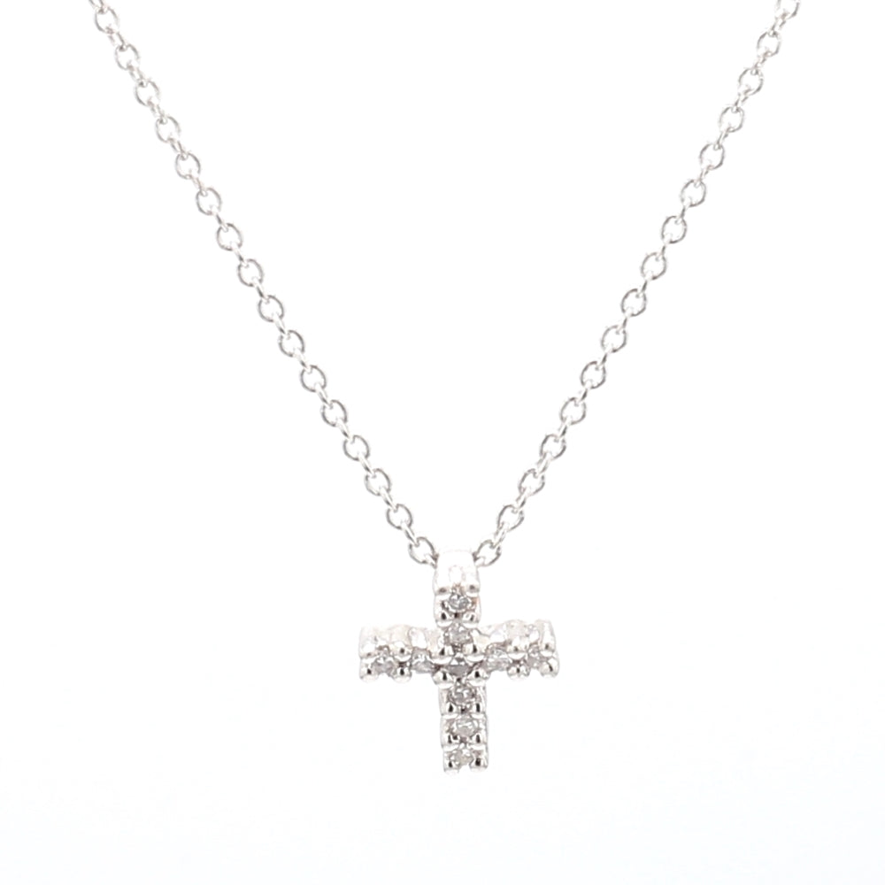 Platinum & 0.12ctw Diamond Crucifix Pendant and Necklace