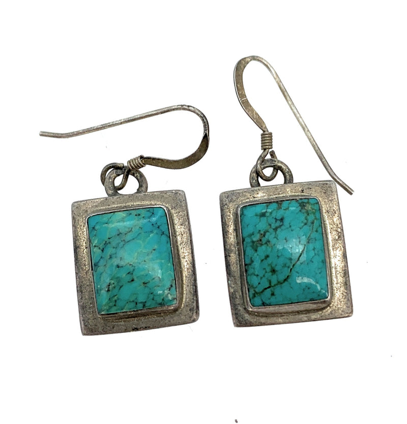 Vintage Old Pawn Sterling Silver & Kingman Turquoise Dangle Earrings