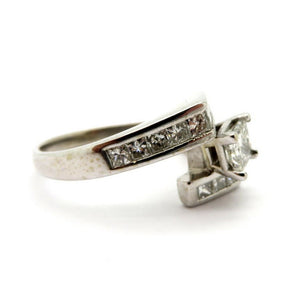 14 Karat White Gold Princess Cut Diamond Bypass Engagement Ring, Size 6.5