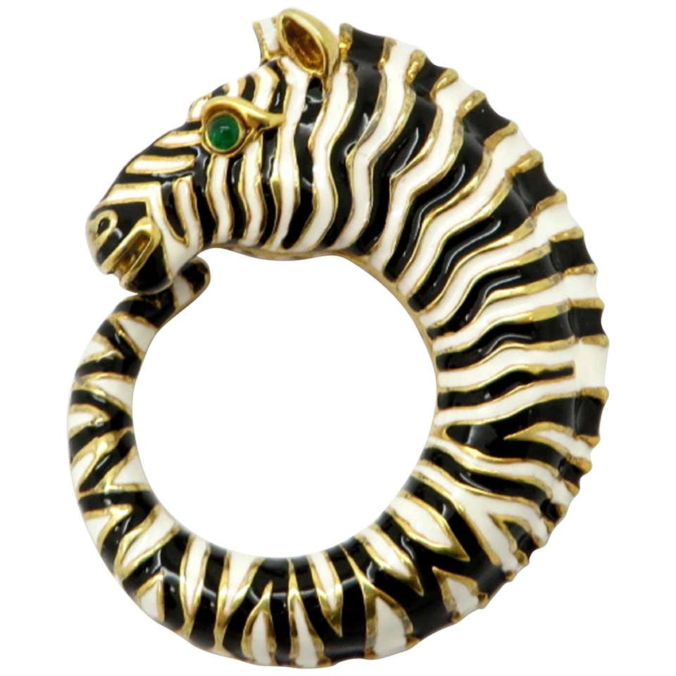 David Webb Zebra Enamel 18K YG Emerald Eye Pendant