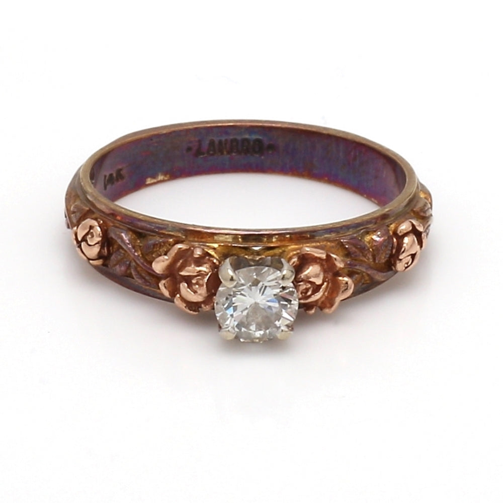 Vintage 14K Rose Gold & 0.30ct Diamond Solitaire Ring - Sz. 6.25