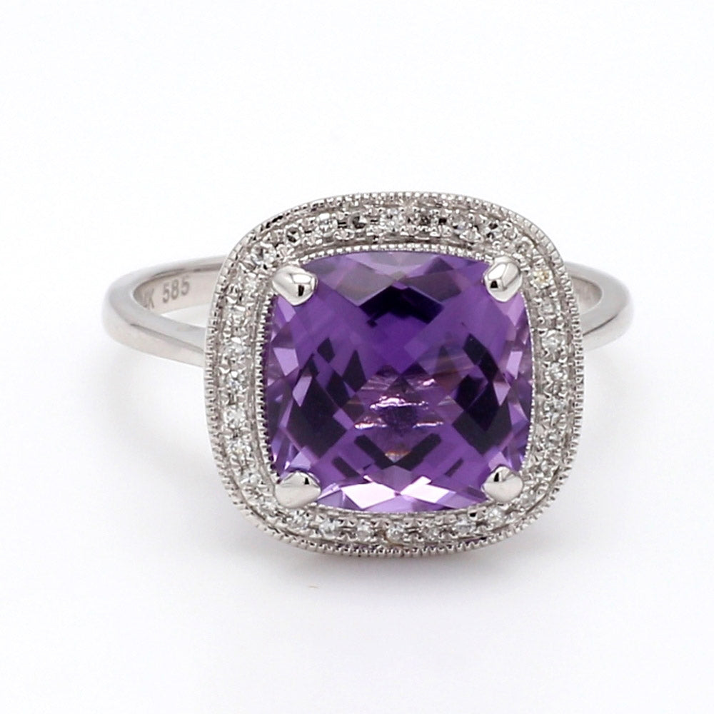 3.40ctw Amethyst & 0.10ctw Diamond 14K White Gold Ring - Sz. 6.25