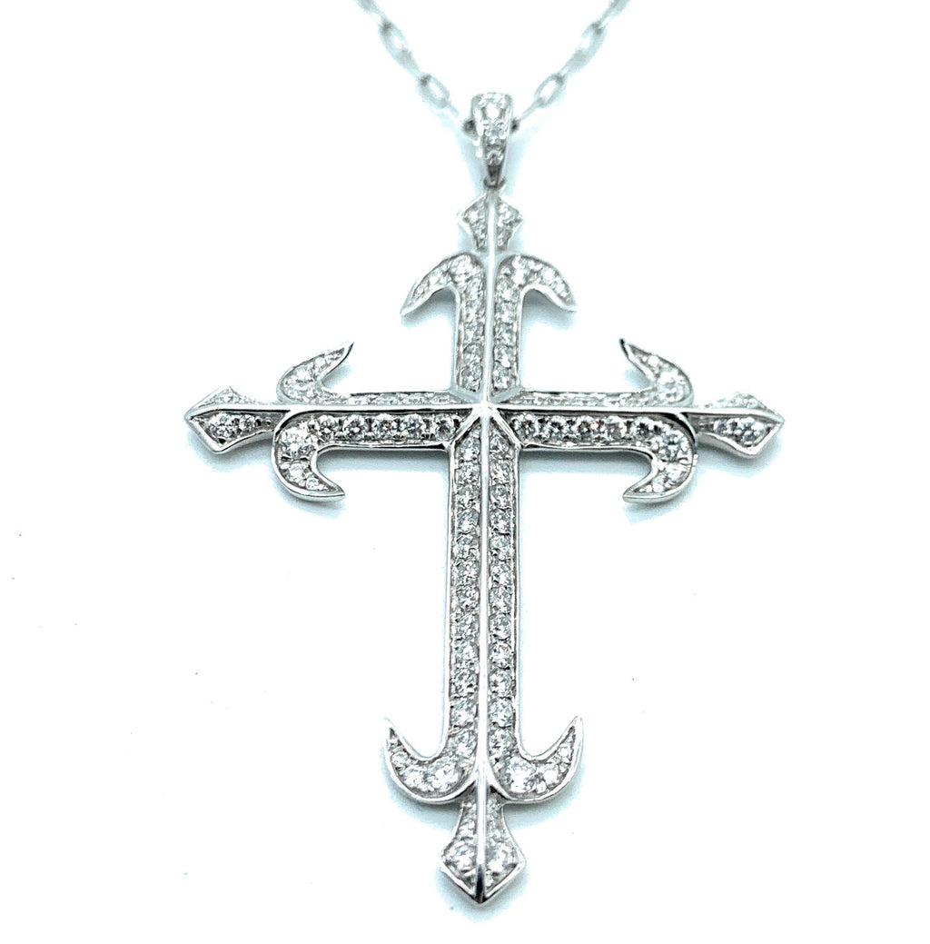 18K White Gold 1.24ctw Diamond Crucifix Pendant and Necklace