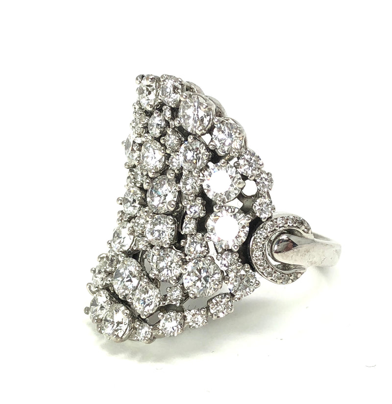 Damiani 7.50ctw 18kt White Gold Diamond Cluster Ring