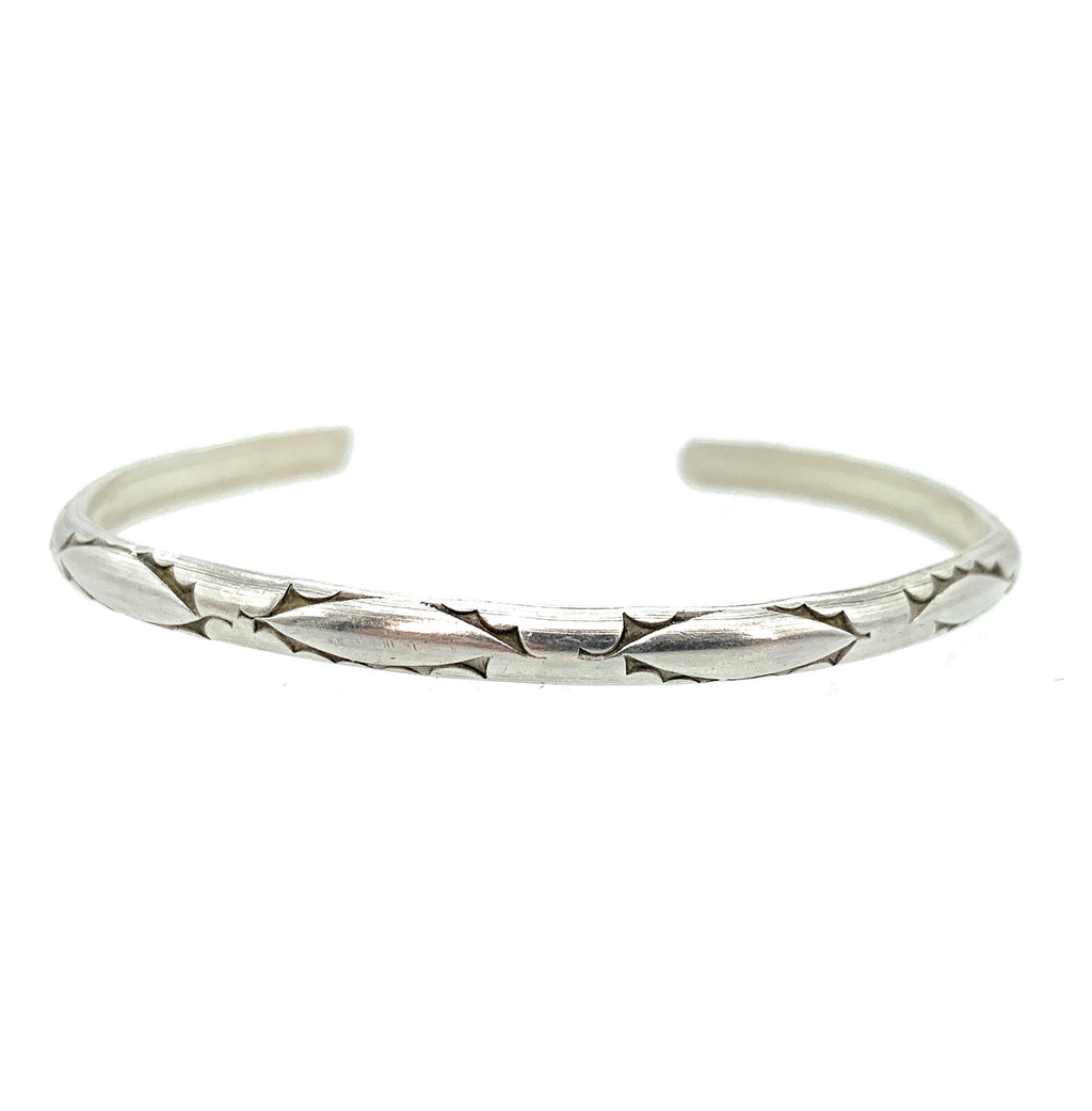 Vintage Old Pawn Sterling Silver Engraved Thin Cuff Bracelet