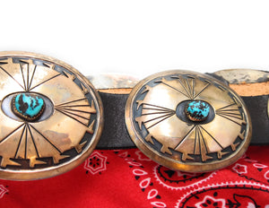 Navajo Concho Belt for Men or Women, Sterling Silver Turquoise Native American Indian Belt