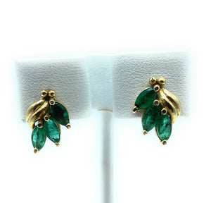 14K Yellow Gold & Emerald 3-Stone Post Earrings