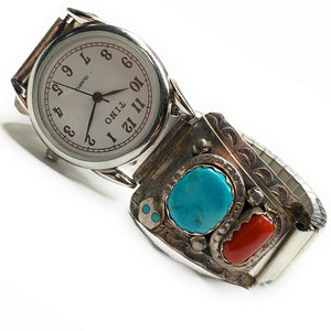 Vintage Zuni Sterling Silver Bisbee Turquoise & Red Coral Watch Tips