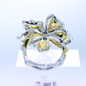 18K 2-Tone Gold 5.86ctw Multi Color Diamond Flower Twisted Shank Cocktail Ring - Sz. 6¼