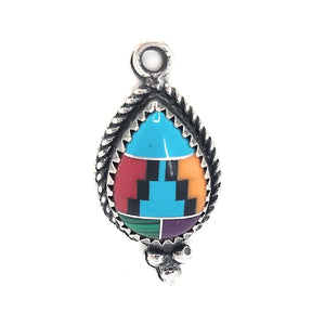 Sterling Silver Multicolor inlay Southwestern Pendant