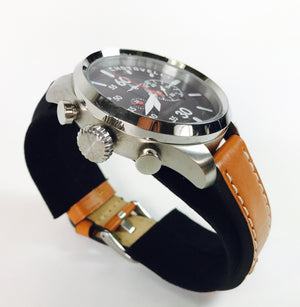 Chotovelli Aviator Pilot Men's Watch Chronograph display Italian Leather Strap 52.1100