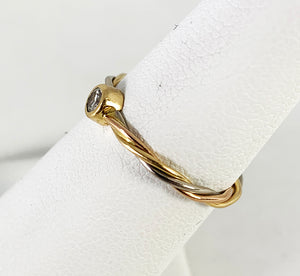 Vintage Cartier 18K Tri-Color Gold Twisted Wire Band with Diamond - Size 5.5