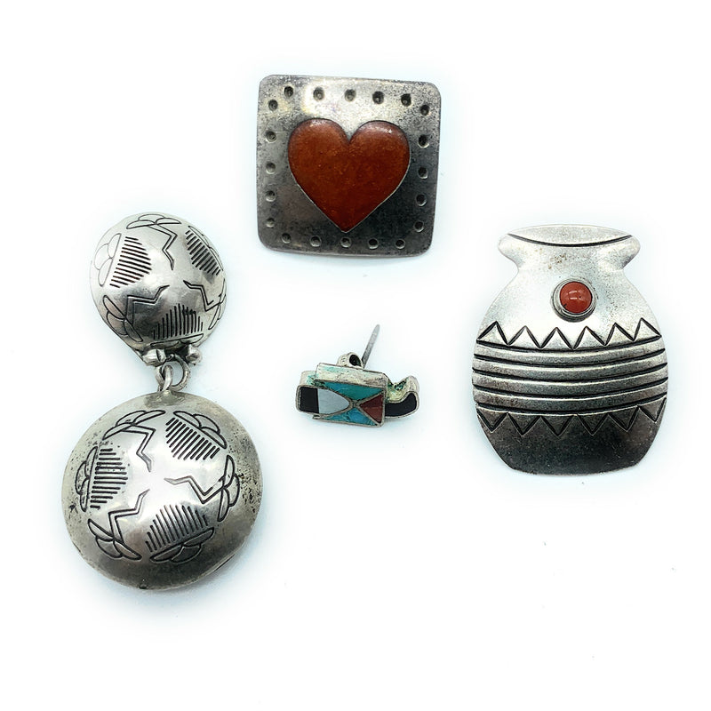 Vintage 1960's Native American Sterling Silver Multi Stone Earring Lot (no matches)