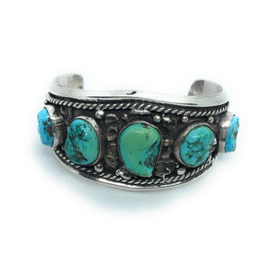 VINTAGE Native American Navajo Sterling Silver Turquoise Cuff Bracelet, Size 6.5