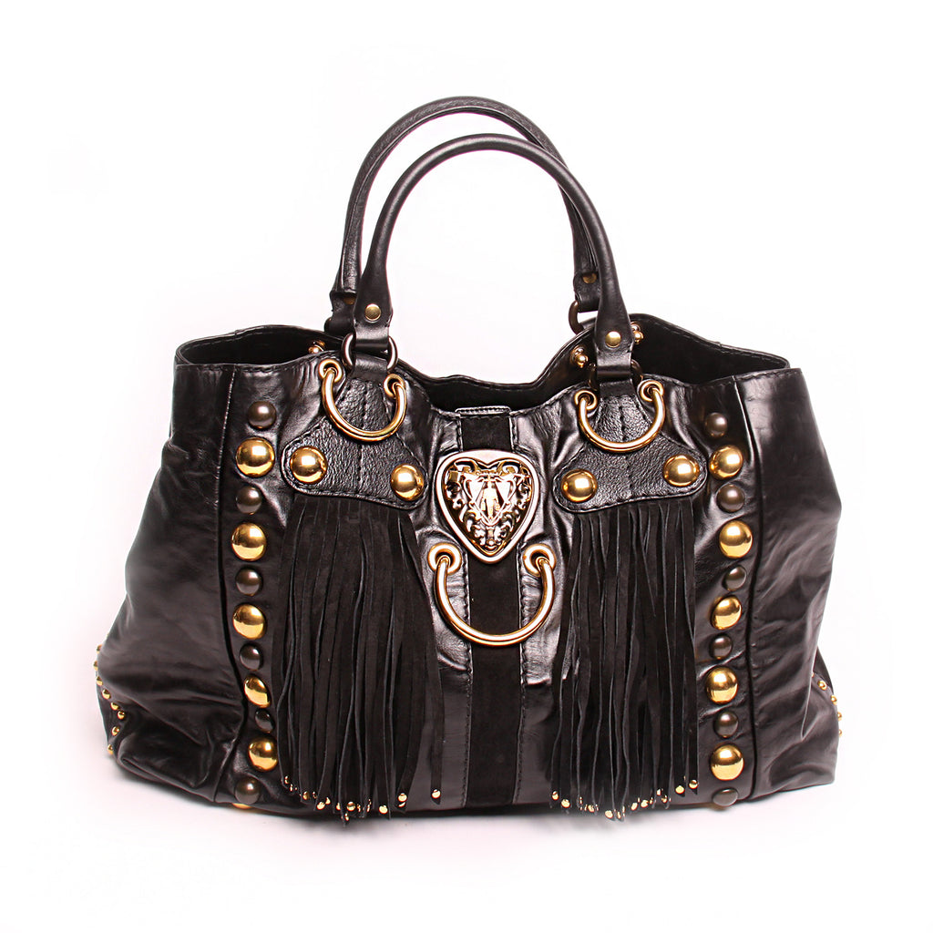 Gucci Medium Black Fringe Babouska Satchel