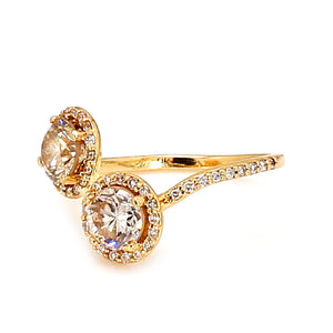 14K Yellow Gold & 1.25ctw Diamond Bypass Ring - Sz. 3.25