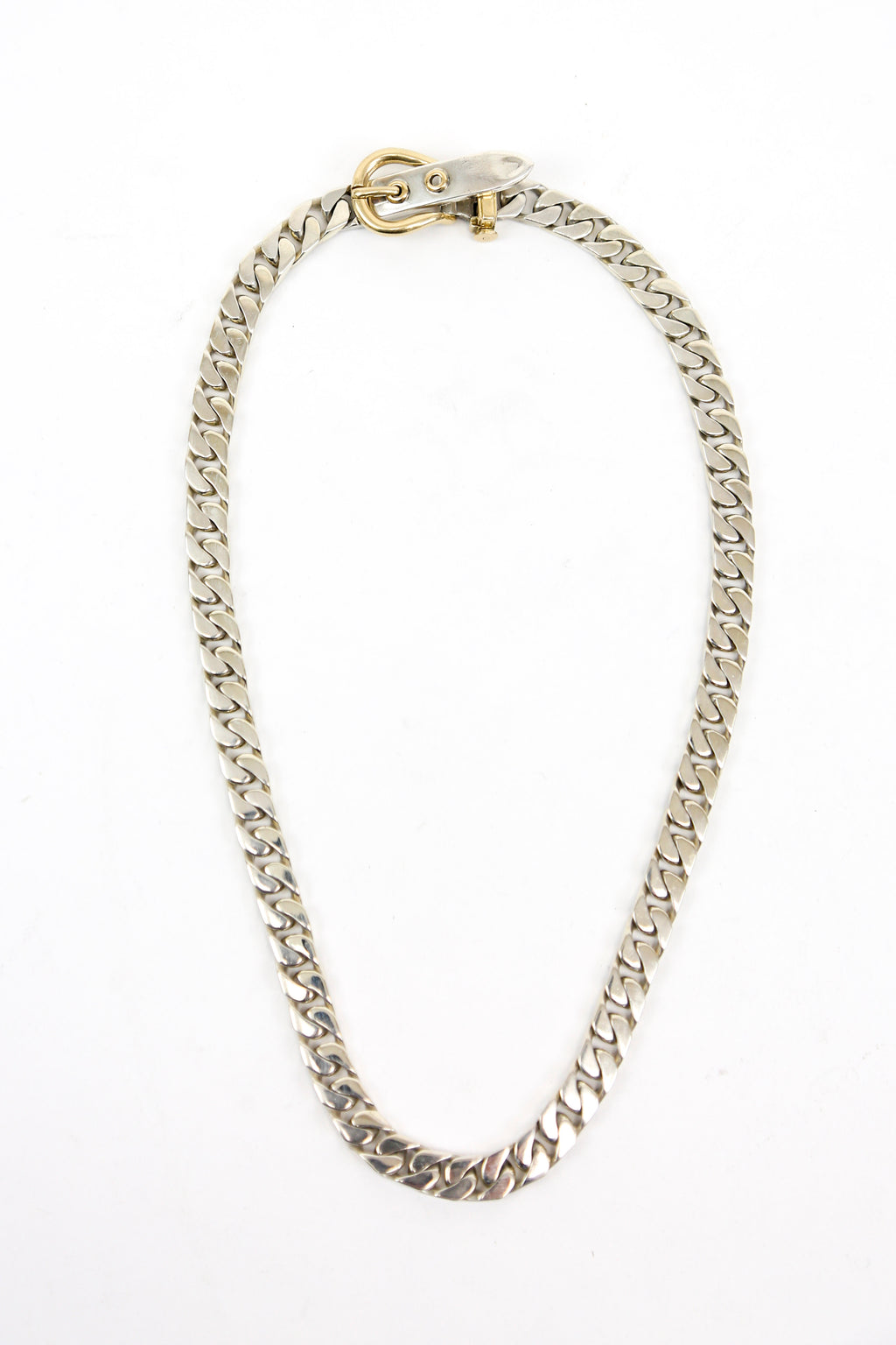 Hermès Sterling Silver and 18k Gold Boucle Sellier Necklace 16""