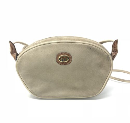Vintage Gucci Tan Suede and Leather Crossbody Bag