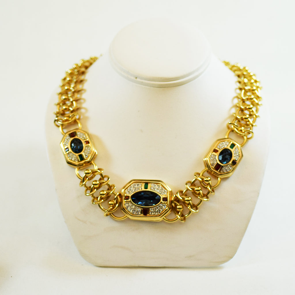Gold Tone with Blue Green Red and Purple Stone with Rhinestone Costume Necklace