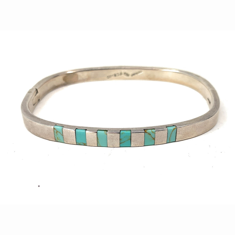 Vintage Native American Sterling Silver and Turquoise Inlay Hinged bangle Bracelet