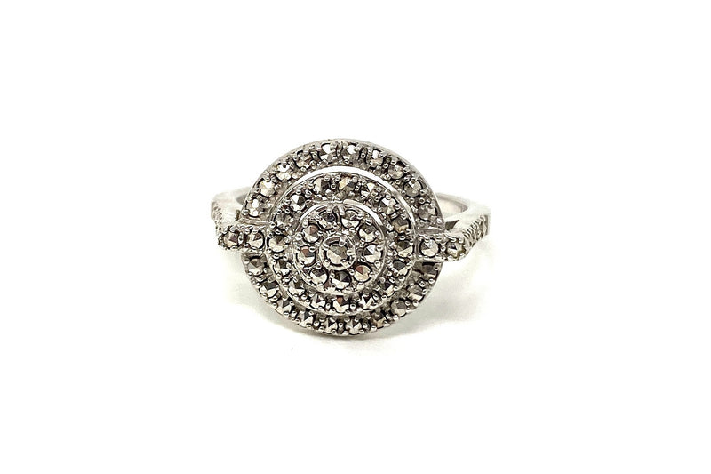 Oval Marcasite Cluster Halo Ring sz  8
