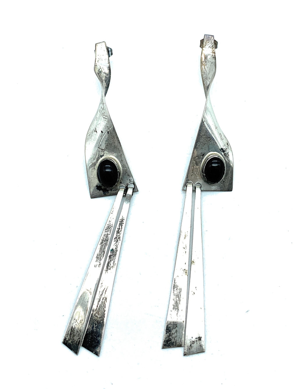 Vintage 1970's Native American Sterling Silver & Onyx Dangle Twist Earrings
